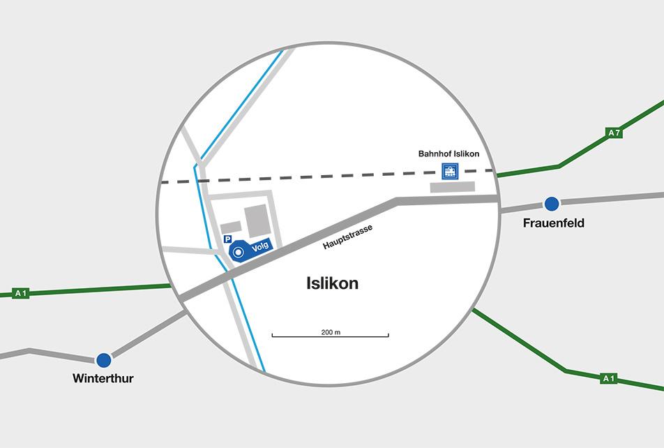 Unser Büro ist in wenigen Schritten vom Bahnhof Islikon erreichbar. Ca. 300 Meter der Hauptstrasse entlang Richtung Dorfmitte. Autobahn von St.Gallen: Ausfahrt Attikon |Autobahn von Zürich: Ausfahrt Oberwinterthur | Autobahn von Kreuzlingen: Ausfahrt Frauenfeld West